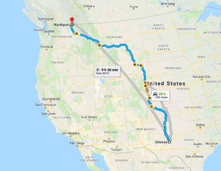 Odessa to Twin Peaks route